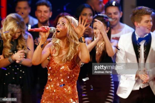 Winner Aneta Sablik performs during the final of the 'Deutschland sucht den Superstar' show at Coloneum on May 3 2014 in Cologne Germany