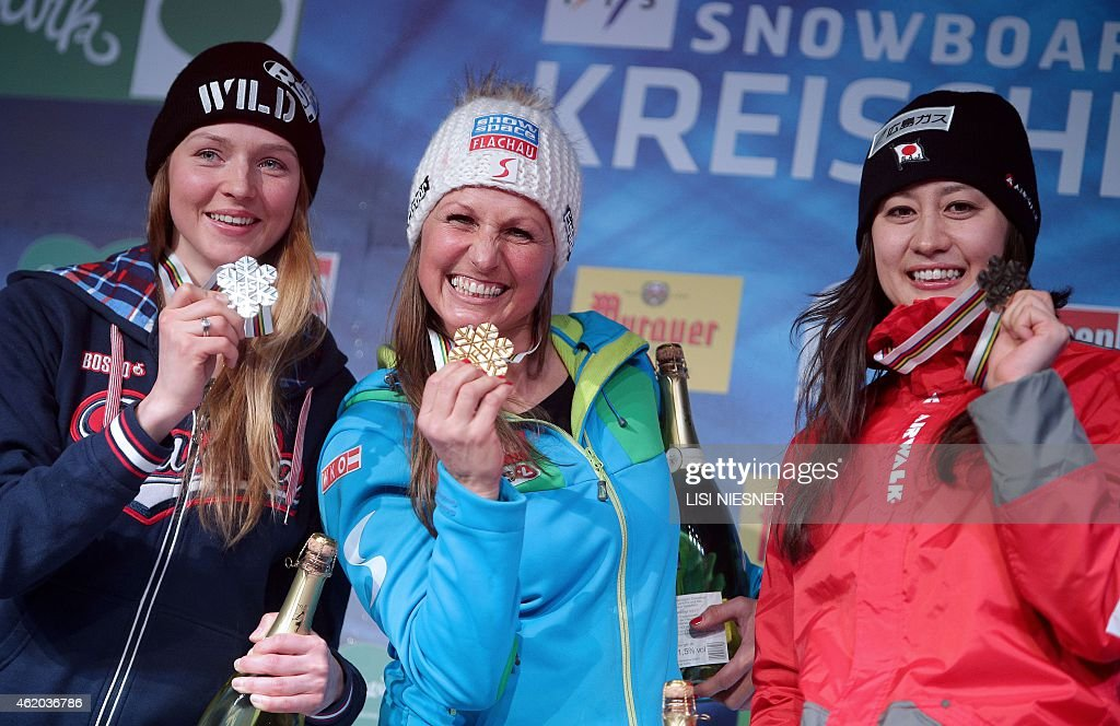 Winner Austria's <a gi-track='captionPersonalityLinkClicked' href=/galleries/search?phrase=Claudia+Riegler+-+Austrian+Snowboarder+-+Born+1973&family=editorial&specificpeople=12458153 ng-click='$event.stopPropagation()'>Claudia Riegler</a> (C), second-placed Russia's <a gi-track='captionPersonalityLinkClicked' href=/galleries/search?phrase=Alena+Zavarzina&family=editorial&specificpeople=6598104 ng-click='$event.stopPropagation()'>Alena Zavarzina</a> (L) and third-placed Japan's <a gi-track='captionPersonalityLinkClicked' href=/galleries/search?phrase=Tomoka+Takeuchi&family=editorial&specificpeople=6719453 ng-click='$event.stopPropagation()'>Tomoka Takeuchi</a> (R) pose with their medal on the podium of the Women's Snowboard Parallel Giant Slalom Finals at the FIS Freestyle and Snowboarding World Ski Championships 2015 in Kreischberg on January 23, 2015.