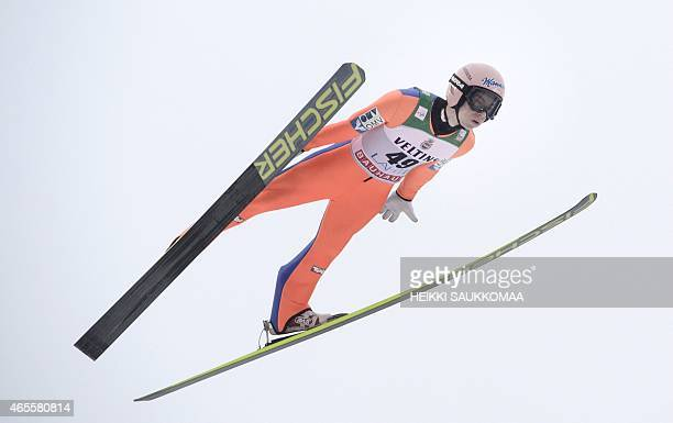 Winner Austria's Stefan Kraft competes during FIS World Cup Large Hill HS130 ski jumping competition in Lahti Ski Games in Lahti Finland on March 8...