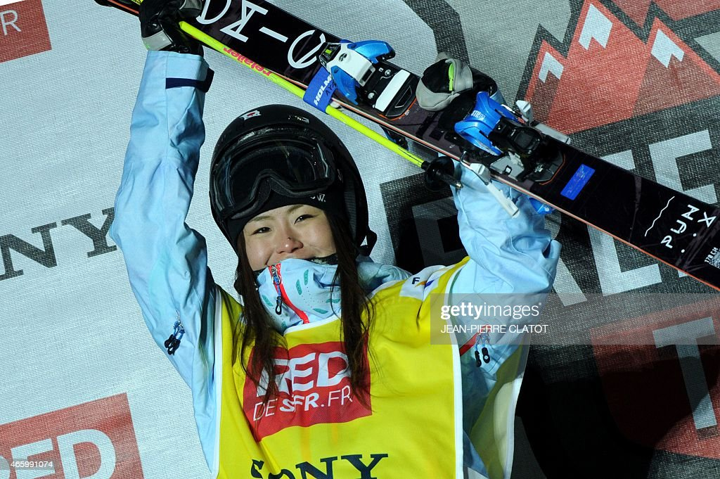 Winner <a gi-track='captionPersonalityLinkClicked' href=/galleries/search?phrase=Ayana+Onozuka&family=editorial&specificpeople=9028067 ng-click='$event.stopPropagation()'>Ayana Onozuka</a> of Japan celebrates with her trophy after winning the ladies's ski superpipe final of the World Cup competition on March 12, 2015 in Tignes, French Alps, Savoie ski resort.