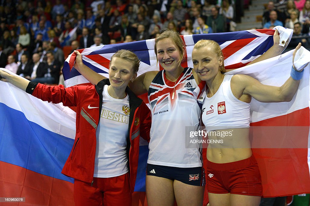 Winner Britain's Holly Bleasdale (C) celebrates with third placed Russia's Anzhelika Sidorova (L) and second placed Poland's Anna Rogowska (R) after the Women's pole vault final during the European Indoor athletics Championships in Gothenburg, Sweden, on March 2, 2013.