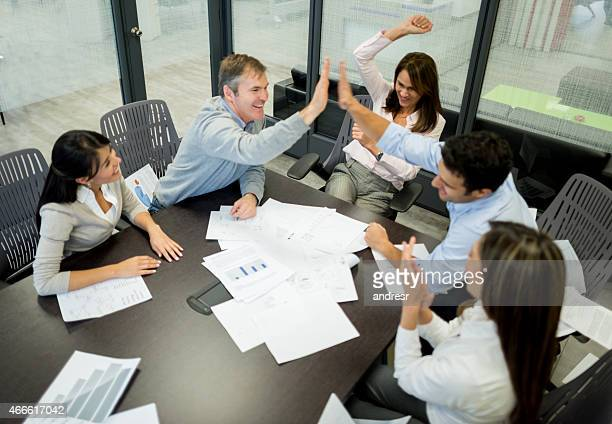 Winner business group in a meeting