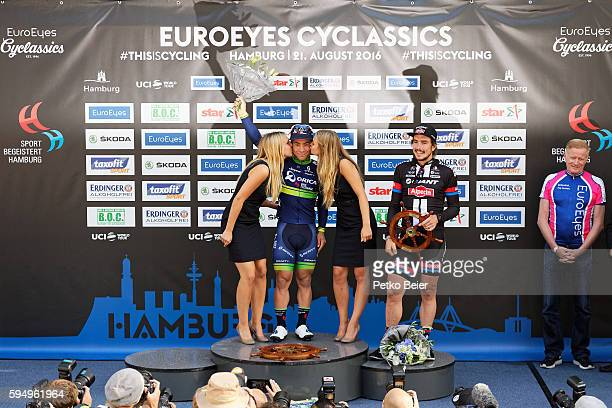 Winner Caleb Ewan and 2nd John Degenkolb are honored in the ceremony at the Euroeyes Cyclassics Hamburg on August 21 2016 in Hamburg Germany