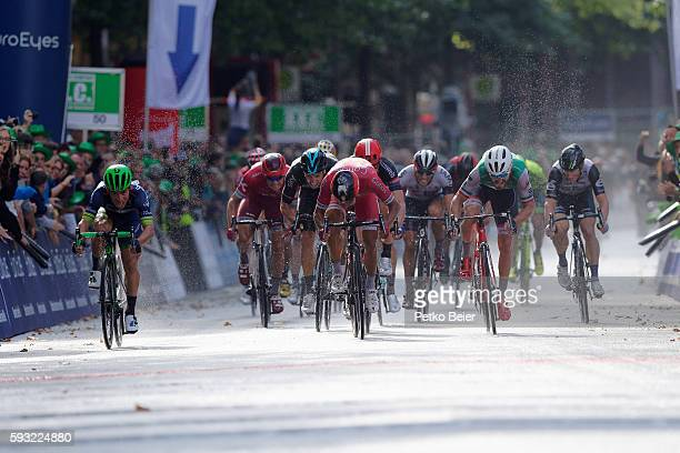 Winner Caleb Ewan sprints with later set back Nacer Bouhanni for the victory at Euroeyes Cyclassics Hamburg on August 21 2016 in Hamburg Germany