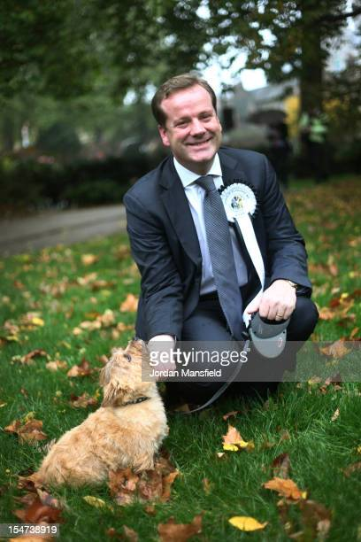 Winner Charlie Elphicke Conservative MP for Dover and Deal with his Norfolk Terrier Star are seen during the Westminster Dog of The Year competition...