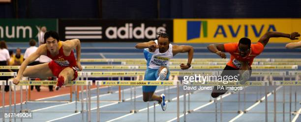 Winner China's Liu Xiang USA's Aries Marrittt and Cuba's Dayron Robles in the final of 60 meters Hurdles during the Aviva Grand Prix at the National...