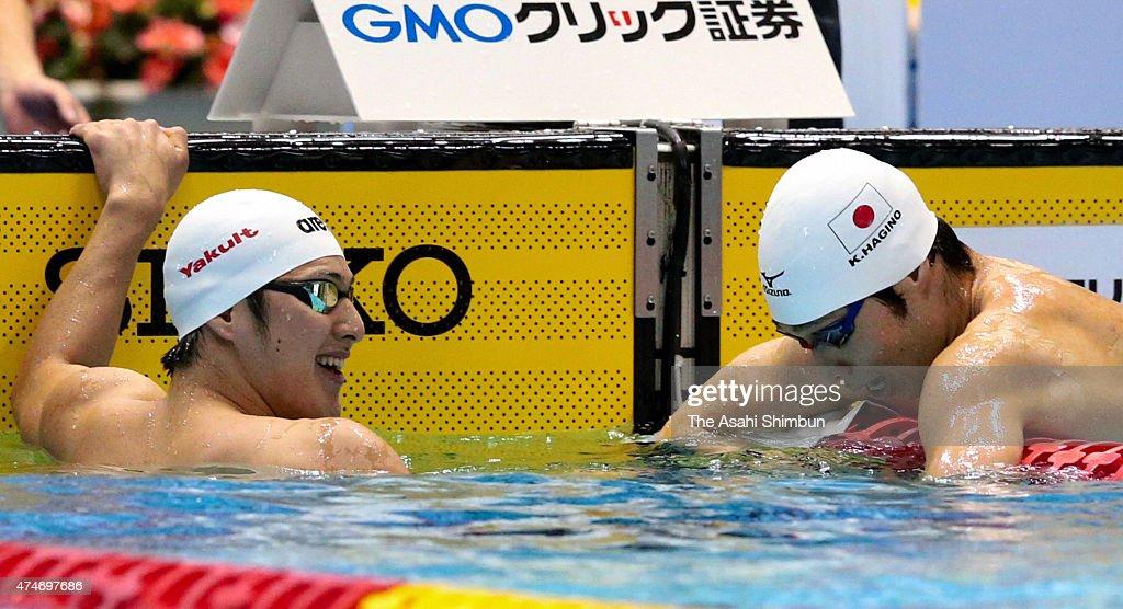 Winner Daiya Seto (L) of Japan smiles while third place Kosuke Hagino (R) of Japan reacts after the Men's 200m Individual Medley final during day three of the Japan Open 2015 at Tokyo Tasumi International Swimming Center on May 24, 2015 in Tokyo, Japan.