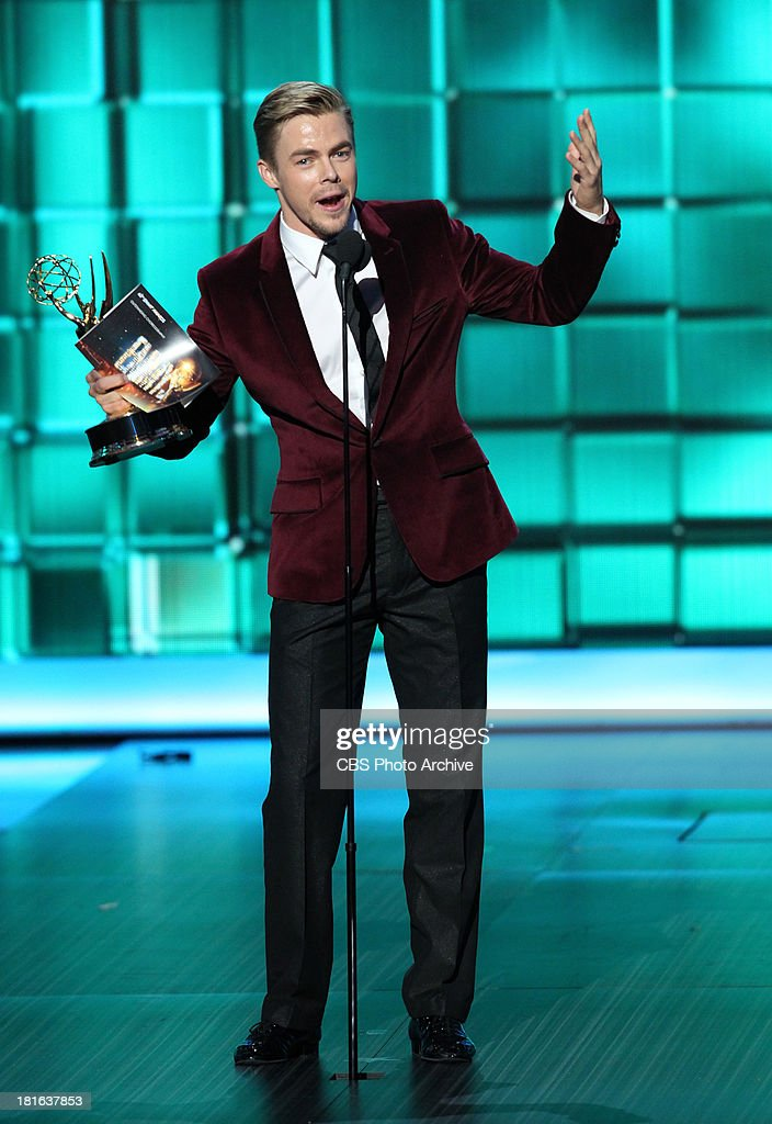 Winner, <a gi-track='captionPersonalityLinkClicked' href=/galleries/search?phrase=Derek+Hough&family=editorial&specificpeople=4532214 ng-click='$event.stopPropagation()'>Derek Hough</a>, during the 65th Primetime Emmy Awards which will be broadcast live across the country 8:00-11:00 PM ET/ 5:00-8:00 PM PT from NOKIA Theater L.A. LIVE in Los Angeles, Calif., on Sunday, Sept. 22 on the CBS Television Network.