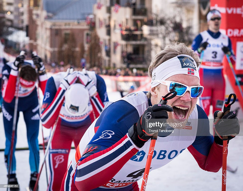 Winner <a gi-track='captionPersonalityLinkClicked' href=/galleries/search?phrase=Eirik+Brandsdal&family=editorial&specificpeople=6567373 ng-click='$event.stopPropagation()'>Eirik Brandsdal</a> of Norway celebrates victory at the FIS Cross Country World Cup Men 1,3 km Sprint Classic at March 11, 2015 in Drammen, Norway. (Photo by Trond Tandberg/Getty Images