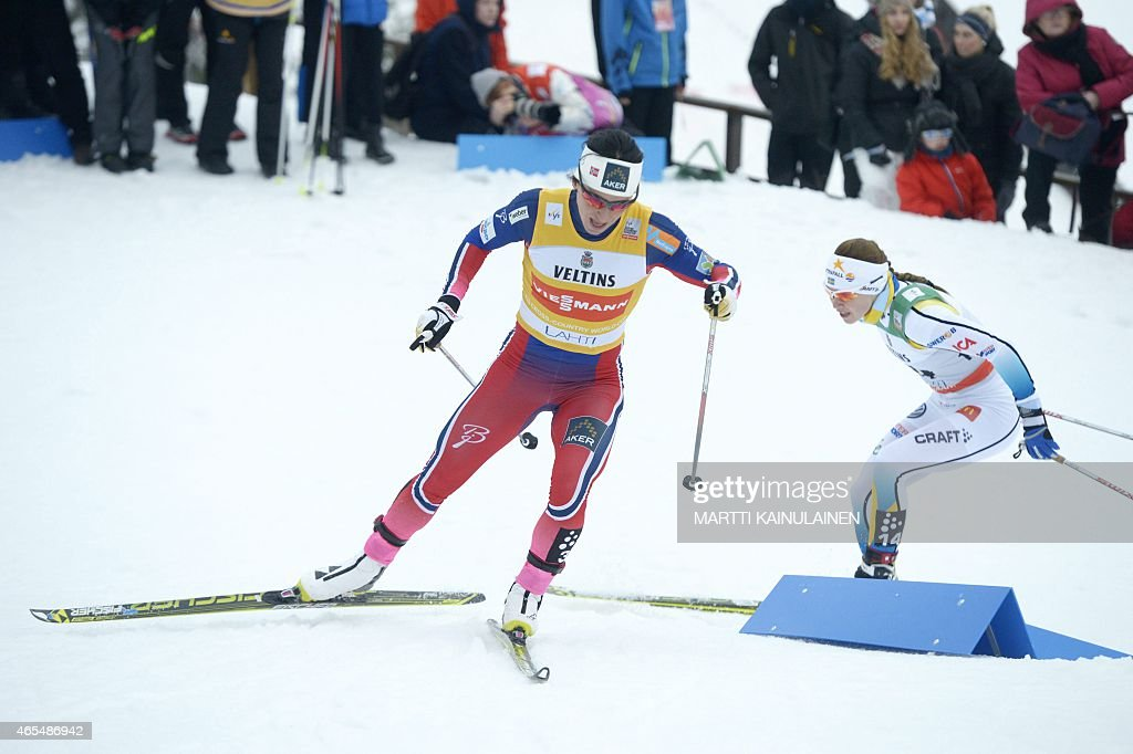 Winner Erik Brandsdal of Norway in action during FIS World Cup Men's sprint final in Lahti Ski Games in Lahti, Finland on March 7, 2015. Brandsdal is followed Richard Jouve of France who was third in the competition. AFP PHOTO / LEHTIKUVA / Martti Kainulainen