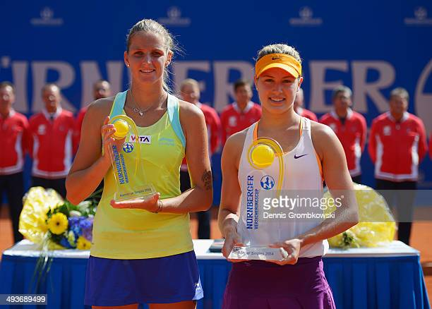 Winner Eugenie Bouchard of Canada and runnerup Karolina Pliskova of Czech Republic pose during Day 8 of the Nuernberger Versicherungscup on May 24...