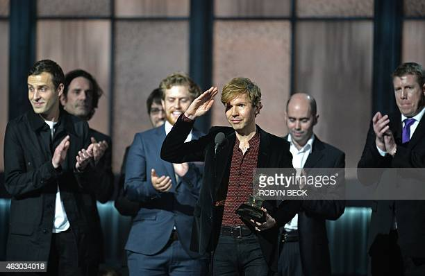 Winner for Album Of The Year Beck reacts at the 57th Annual Grammy Awards in Los Angeles February 8 2015 AFP PHOTO / ROBYN BECK