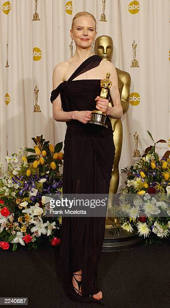 Winner for Best Actress for 'The Hours' Nicole Kidman poses during the 75th Annual Academy Awards at the Kodak Theater on March 23 2003 in Hollywood...