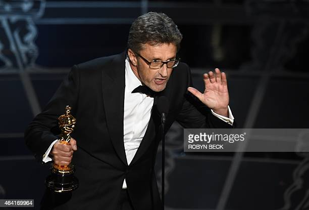 Winner for Best Foreign Language Film'Ida' Pawel Pawlikowski addresses the audience on stage for the 87th Oscars February 22 2015 in Hollywood...