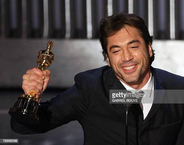 Winner for Best Supporting Actor Javier Bardem accepts his trophy during the 80th Annual Academy Awards at the Kodak Theater in Hollywood California...