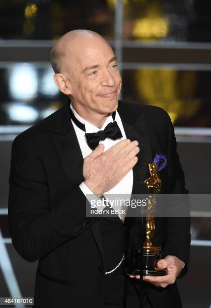 Winner for Best Supporting Actor JK Simmons gives his acceptance speech at the 87th Oscars February 22 2015 in Hollywood California AFP PHOTO / Robyn...