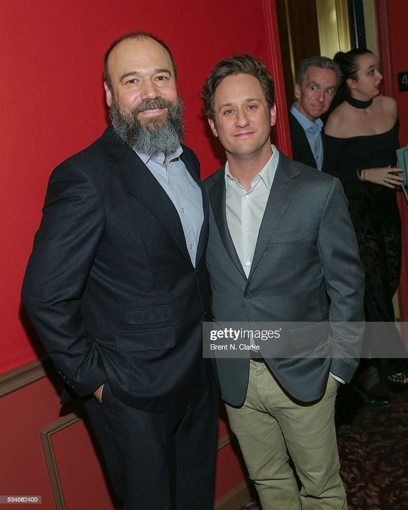 Winner for outstanding actor in a musicial, 'Fiddler on the Roof', Danny Burnstein (L) and Chris Fitzgerald attend the 66th Annual Outer Critics Circle Theatre Awards held at Sardi's on May 26, 2016 in New York City.