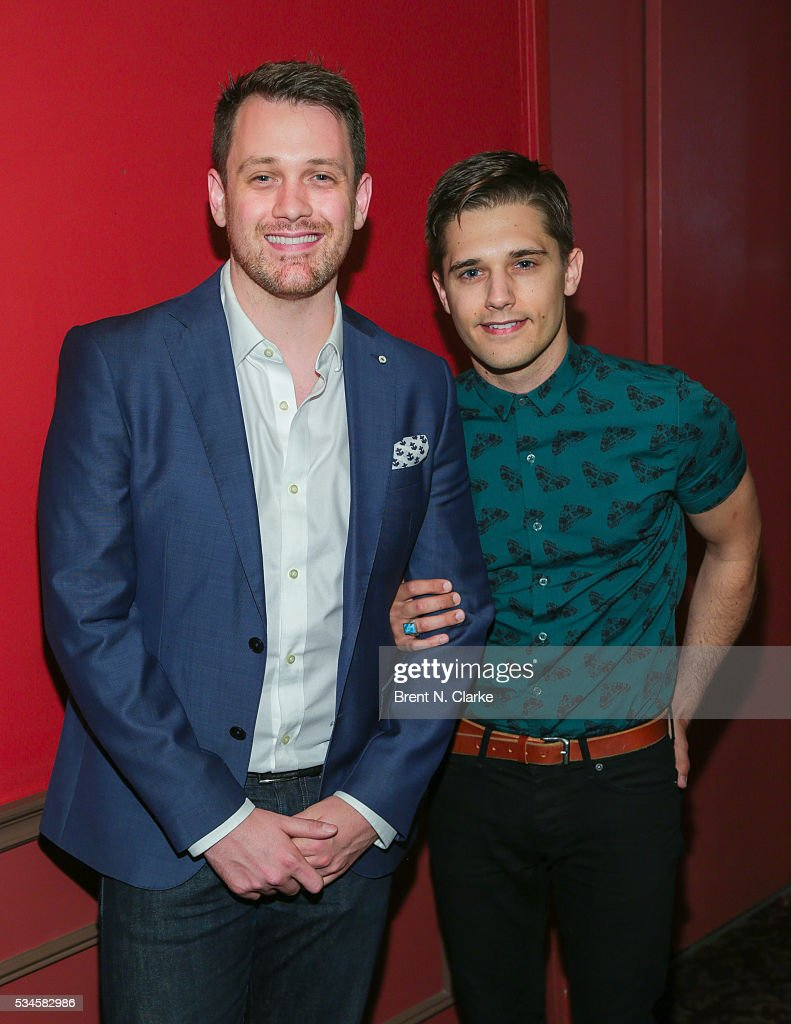 Winner for outstanding director of a musical, 'Spring Awakening', Michael Arden (L) and actor Andy Mientus attend the 66th Annual Outer Critics Circle Theatre Awards held at Sardi's on May 26, 2016 in New York City.