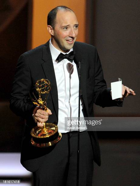 Winner for Supporting Actor in a Comedy Series Tony Hale speaks onstage during the 65th Annual Primetime Emmy Awards held at Nokia Theatre LA Live on...