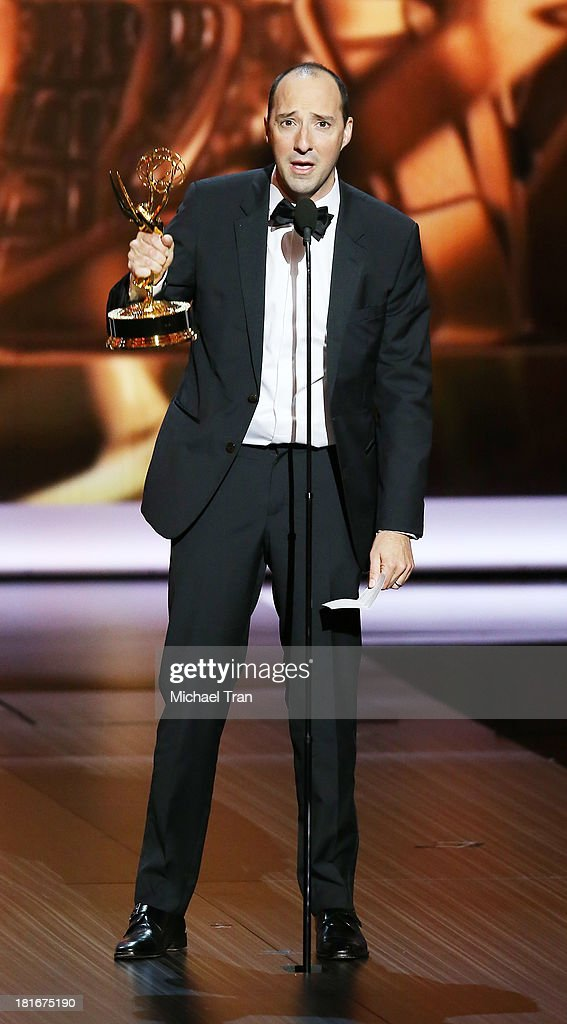 Winner for Supporting Actor in a Comedy Series, <a gi-track='captionPersonalityLinkClicked' href=/galleries/search?phrase=Tony+Hale&family=editorial&specificpeople=745565 ng-click='$event.stopPropagation()'>Tony Hale</a> speaks onstage during the 65th Annual Primetime Emmy Awards held at Nokia Theatre L.A. Live on September 22, 2013 in Los Angeles, California.