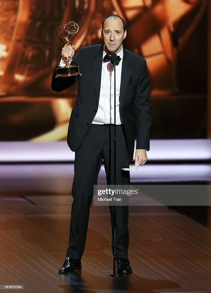 Winner for Supporting Actor in a Comedy Series, Tony Hale speaks onstage during the 65th Annual Primetime Emmy Awards held at Nokia Theatre L.A. Live on September 22, 2013 in Los Angeles, California.