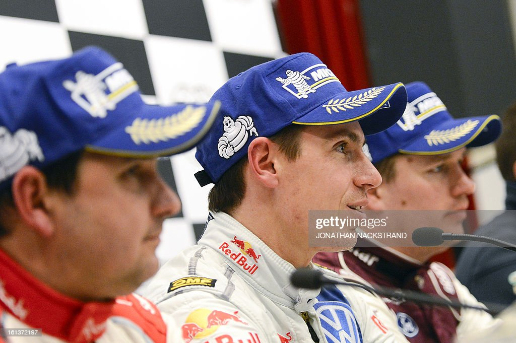 Winner France's co-driver Julien Ingrassia (C), 2nd placed Monaco's co-driver Daniel Elena (L) and 3rd placed Sweden's co-driver Jonas Andersson address a press conference of Rally Sweden, second round of the FIA World Rally Championship on February 10, 2013 in Karlstad, Sweden.