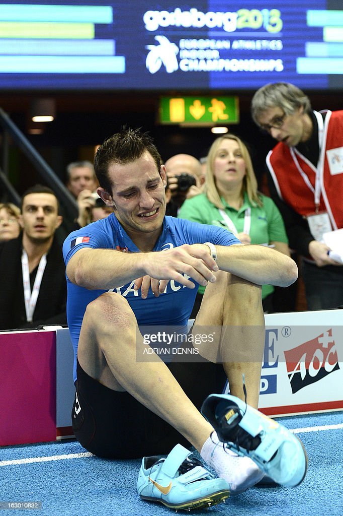 Winner France's Renaud Lavillenie cries as judges decided to invalidate his last attempt in the Pole Vault Men's Final at the European Indoor athletics Championships in Gothenburg, Sweden, on March 3, 2013.
