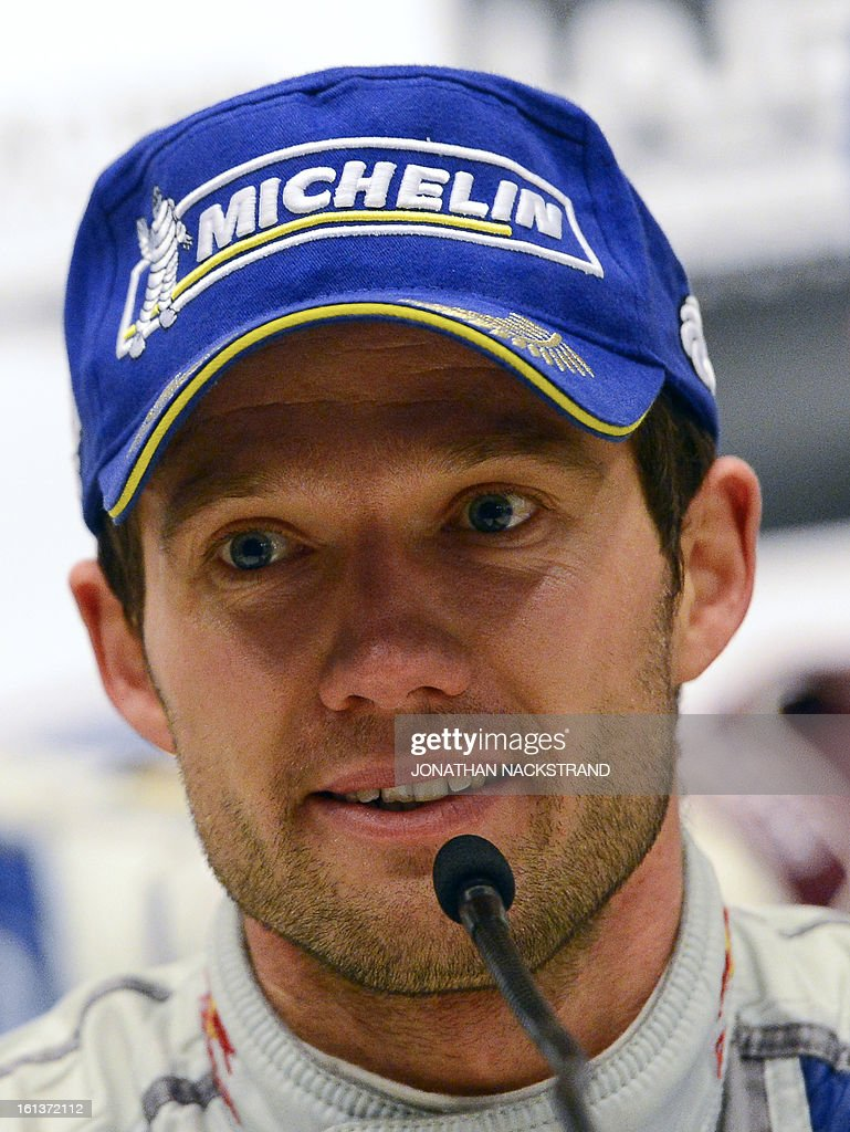 Winner France's Sebastien Ogier speaks during a press conference of Rally Sweden, second round of the FIA World Rally Championship on February 10, 2013 in Karlstad, Sweden.