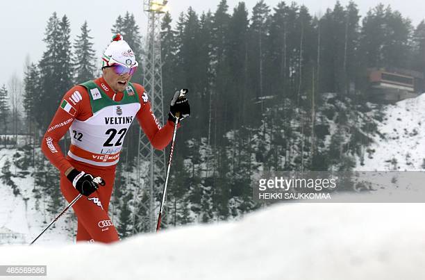 Winner Francesco de Fabiani of Italy competes during men's FIS World Cup 15km classic style cross country skiing competition in Lahti Ski Games in...