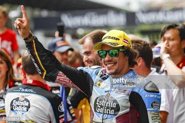 Winner Franco Morbidelli of Italy celebrates after the Moto2 race during Austrian Grand Prix at Red Bull Ring in Spielberg Austria on August 13 2017...