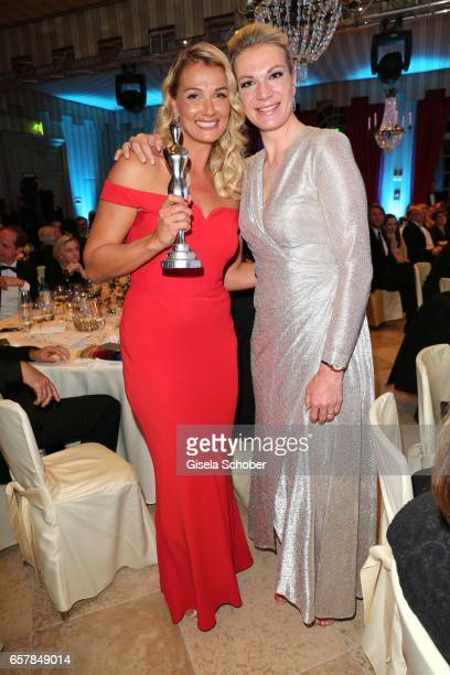 Winner Franziska van Almsick with award and Maria HoeflRiesch during the Gala Spa Awards at Brenners ParkHotel Spa on March 25 2017 in BadenBaden...