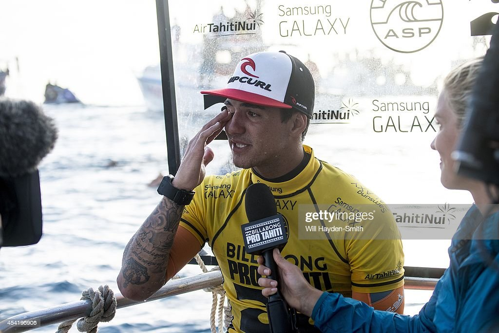 Winner <a gi-track='captionPersonalityLinkClicked' href=/galleries/search?phrase=Gabriel+Medina+-+Surfer&family=editorial&specificpeople=13702660 ng-click='$event.stopPropagation()'>Gabriel Medina</a> of Brazil emotional after victory during the Billabong Pro Tahiti on August 25, 2014 in Teahupo'o, Tahiti, French Polynesia.