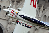 Winner German Matthias Dolderer of the Matthias Dolderer Racing with his Edge 540 V3 plane competes during the Red Bull Air Race World Championship...