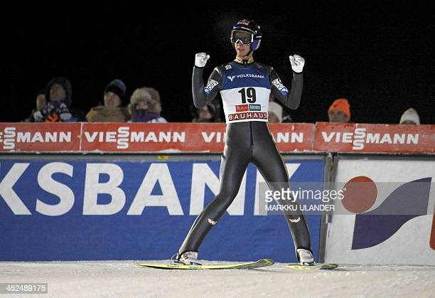 Winner Gregor Schlierenzauer of Austria celebrating after men's ski jumping HS 142 at FIS World Cup Ruka Nordic Opening in Kuusamo on November 29...