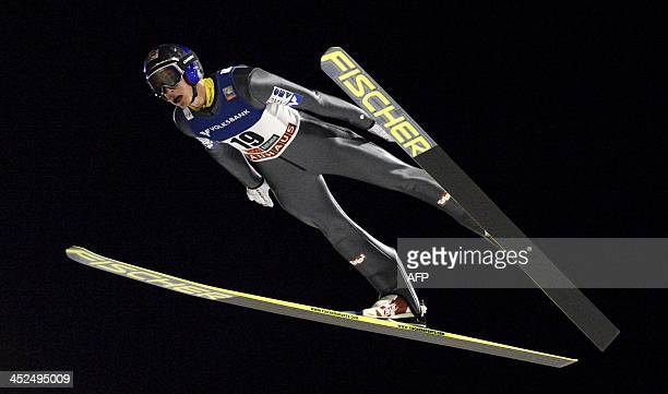 Winner Gregor Schlierenzauer of Austria in action during men's ski jumping HS 142 at FIS World Cup Ruka Nordic Opening in Kuusamo on November 29 2013...