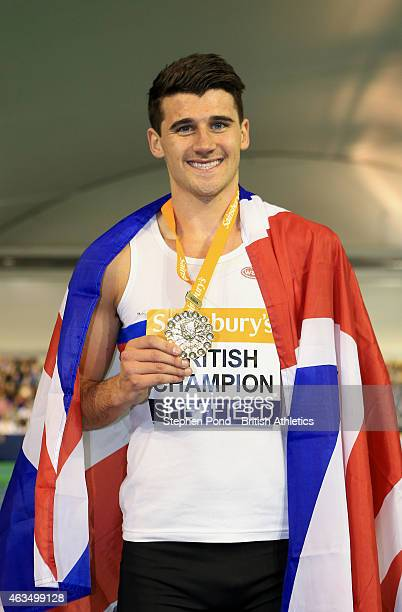 Winner Guy Learmonth of Great Britain poses with his medal after the mens 800m during day two of the Sainsbury's British Athletics Indoor...