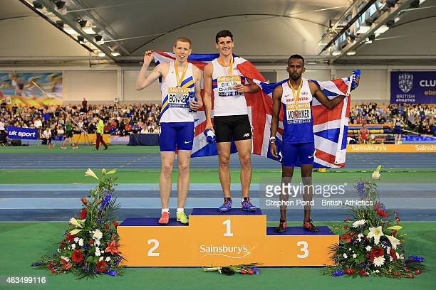 Winner Guy Learmonth of Great Britain second place James Bowness of Great Britain and third place Mukhtar Mohammed of Great Britain pose with their...