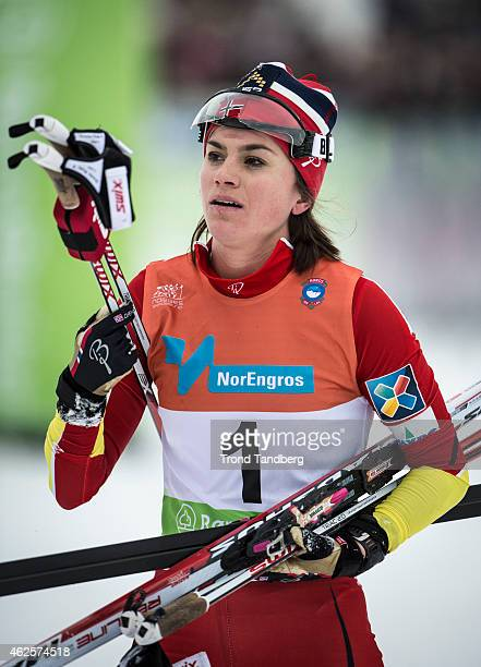 Winner Heidi Weng looks on after the Lady 15 km Skiatlon during the Norwegian Championship Cross Country on January 31 2015 in Roros Norway