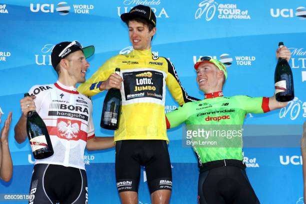 Winner in the AMGEN Race Leader jersey George Bennett of New Zealand riding for Team Lotto NLJumbo second place Rafal Majka of Poland riding for...