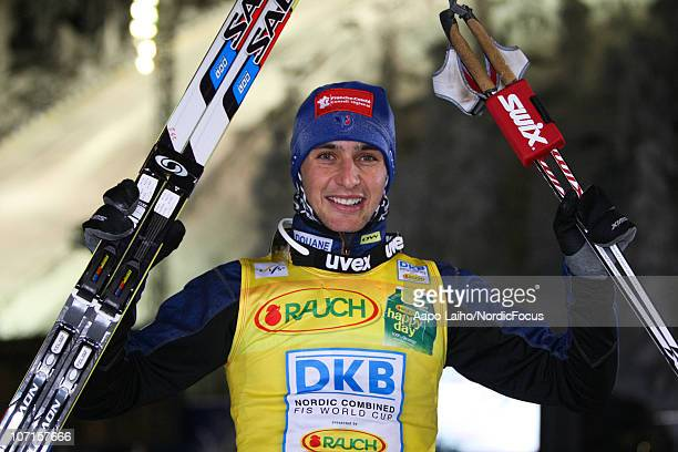 Winner Jason Lamy Chappuis of France pose after the Gundersen Ski Jumping HS 142/10km Cross Country event during day one of the FIS Nordic Combined...