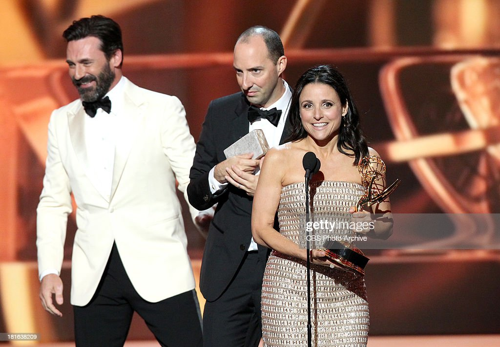 Winner, <a gi-track='captionPersonalityLinkClicked' href=/galleries/search?phrase=Julia+Louis-Dreyfus&family=editorial&specificpeople=208965 ng-click='$event.stopPropagation()'>Julia Louis-Dreyfus</a> during the 65th Primetime Emmy Awards which will be broadcast live across the country 8:00-11:00 PM ET/ 5:00-8:00 PM PT from NOKIA Theater L.A. LIVE in Los Angeles, Calif., on Sunday, Sept. 22 on the CBS Television Network.