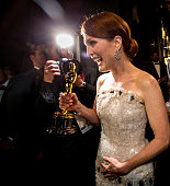Winner Julianne Moore is seen backstage as she holds her statuette for Best Actress in a Leading Role during the 87th Annual Academy Awards at Dolby...