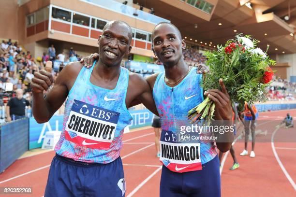 Winner Kenya's Elijah Motonei Manangoi celebrates with secondplaced Kenya's Timothy Cheruiyot after the men's 1500m event at the IAAF Diamond League...