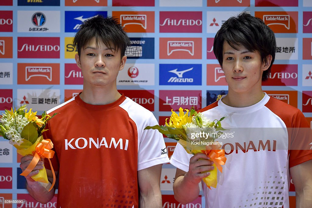 Winner <a gi-track='captionPersonalityLinkClicked' href=/galleries/search?phrase=Kohei+Uchimura&family=editorial&specificpeople=5481263 ng-click='$event.stopPropagation()'>Kohei Uchimura</a> and Second Place <a gi-track='captionPersonalityLinkClicked' href=/galleries/search?phrase=Ryohei+Kato&family=editorial&specificpeople=9111024 ng-click='$event.stopPropagation()'>Ryohei Kato</a> pose for photographs at the ceremony during the Artistic Gymnastics NHK Trophy at Yoyogi National Gymnasium on May 5, 2016 in Tokyo, Japan.