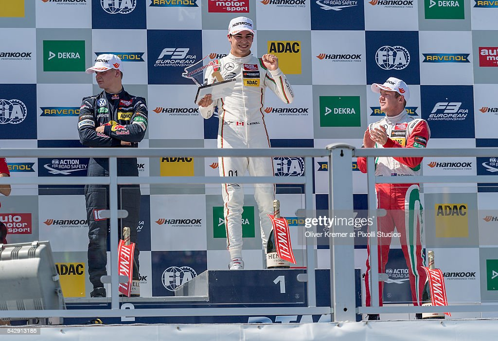 Winner Lance Stroll (CAN), second place Niko Kari (FIN) and third place Nick Cassidy (NZL) celebrate the FIA Formula 3 European Championship during Day 2 of the 74. International ADAC Norisring Speedweekend on June 25, 2016 in Nuremberg, Germany.