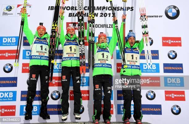 Winner Laura Dahlmeier Franziska Hildebrand Maren Hammerschmidt and Vanessa Hinz of Germany pose on the podium after the 2017 IBU World Championships...