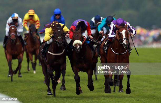 Winner Leading Light ridden by Joseph O'Brien beats Estimate ridden by Ryan Moore and Missunited ridden by Jim Crolwey to win the Gold Cup during Day...