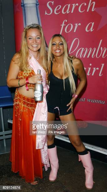 Winner Leila Payne from Manchester with glamour model Jodie Marsh during the 'Search For The Lambrini Girl 2004' party which she is judging at On...