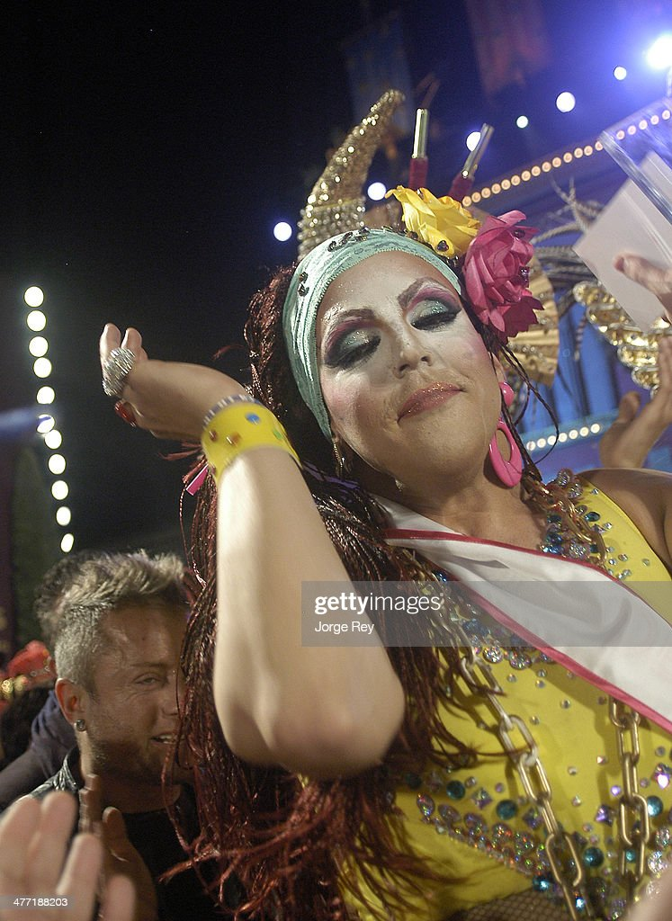 Winner Maeva Grinassira onstage at the Drag Queen Gala at Las Palmas Carnival 2014 on March 7, 2014 in Las Palmas de Gran Canaria, Spain. The Carnival of the Canary Islands, which lasts 20 days, attracts thousands of tourists from around the world.