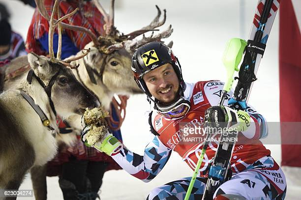 Winner Marcel Hirscher of Austria poses with his trophy a reindeer which Hirscher named Leo after the Men's FIS Alpine Skiing World Cup slalom race...